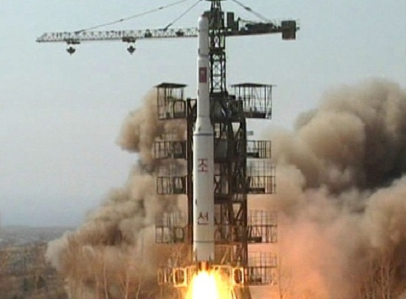 North Korean Unha-3 Rocket Liftoff